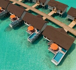 Aerial of water villas