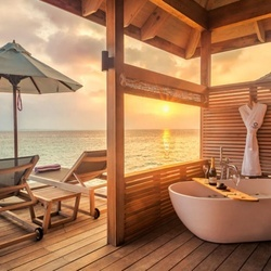 Romantic ocean villa terrace