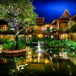 Angkor village hotel hotel pond at night