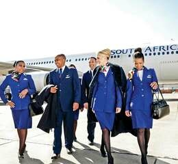 South african airways cabincrew2 in front of aircraft