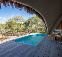 Chena huts by uga escapes bali plunge pool and deck of cabin