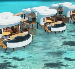 Oblu select at sangeli maldives honeymoon water suite with pool aerial views of suites