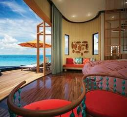 Oblu select at sangeli maldives honeymoon water suite with pool view from bedroom at angle