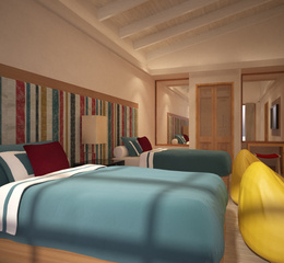 Oblu select at sangeli maldives beach family pool suite kids room interior